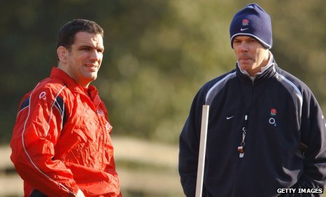 Martin Johnson and Sir Clive Woodward during an England training session