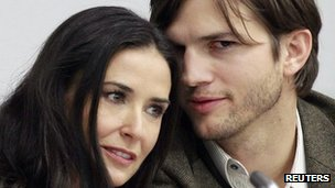 Actress Demi Moore and Ashton Kutcher in New York in November 2010