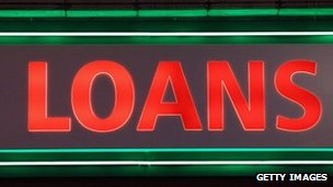 Neon sign saying &quot;loans&quot;