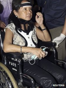 Former Philippine President Gloria Arroyo at Ninoy Aquino International Airport in Manila on 15 November 2011