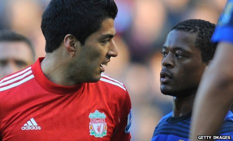 Luis Suarez (left) and Patrice Evra