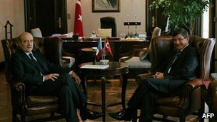 Turkish Foreign Minister Ahmet Davutoglu (R) with his French counterpart Alain Juppe during a meeting in Ankara.