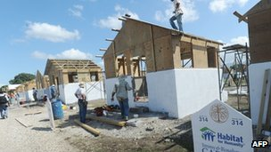 Housing in Leogane funded by Carter Foundation for 500 families on 8 November