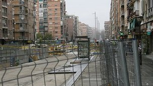 Camino de Ronda, dug up by the metro project