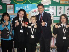 Lord Coe with the Whitley Academy School Reporters