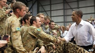 US President Barack Obama meets Australian troops in Darwin on 17 November 2011