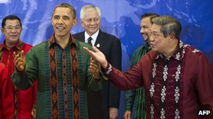 US President Barack Obama with Indonesian leader Susilo Bambang Yudhoyono at the Asean summit in Bali on 18 November 2011