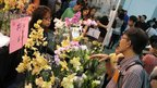 Visitors picking orchid flowers at a stall inside the 20th World Orchid Conference in Singapore, 18 November 2011