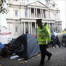 Camp outside St Paul's Cathedral