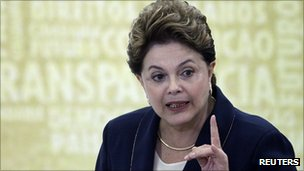 President Dilma Rousseff of Brazil at a news conference after signing the truth commission into law