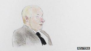 An artist's sketch of Anders Behring Breivik in court, 14 November
