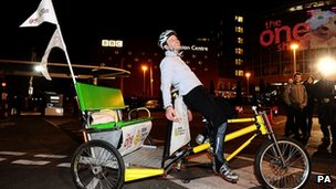 Matt Baker completes The One Show's Rickshaw Challenge for Children in Need live on The One Show