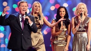 Presenters Terry Wogan, Tess Daly, Alesha Dixon and Fearne Cotton during the BBC Children In Need Appeal