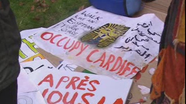 Banners from the Occupy Cardiff protest