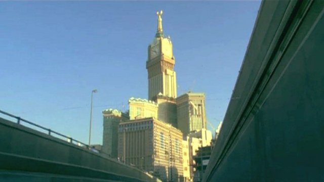 A big building in Mecca as seen from a motorway