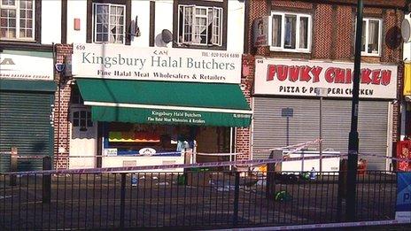 Scene of the stabbing in Kingsbury