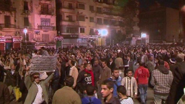 Protestors in Cairo's Tahrir square.