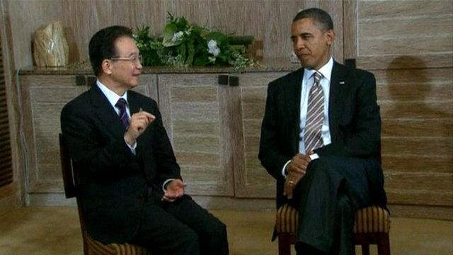 President Obama and the Chinese Prime Minister Wen Jiabao.