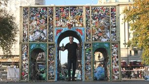 Artist Miguel Romo with the litter arch
