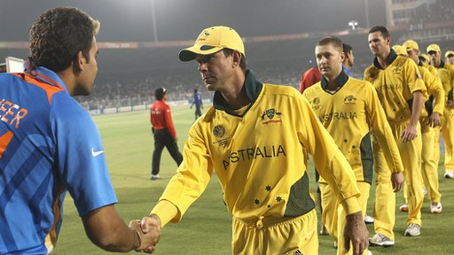 Ricky Ponting leads Australia off after India win World Cup quarter-final