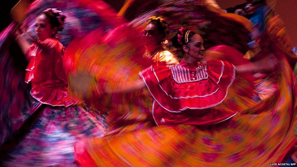 Dancers of the Folkloric Ballet of the University of Guadalajara perform