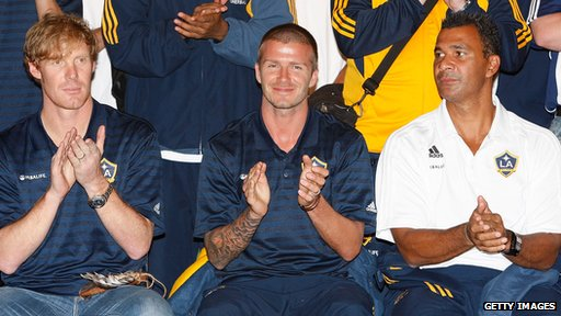 Alexi Lalas (l) with David Beckham (c) and Ruud Gullit (r) in 2007
