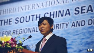 Dang Dinh Quy, president of Vietnam&#039;s Diplomatic Institute, addresses the opening of the 3rd international workshop on the South China Sea in Hanoi on 4 November 2011 