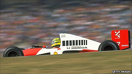 Ayrton Senna drives his Honda-powered McLaren in 1990