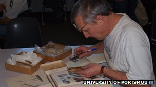Dr David Martill examining the pterosaur fossil