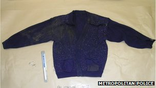 A blue cardigan worn by Stephen Lawrence