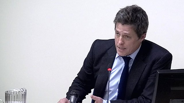 Actor Hugh Grant has been giving evidence to the Leveson Inquiry