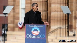 Barack Obama declares his candidate for president in February 2008