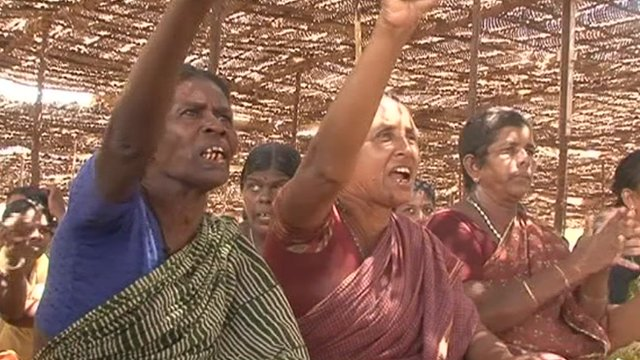 Woman chant during protests in Tamil Nadu