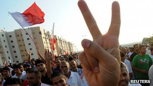 Anti-government protesters near Manama. Photo: 18 November 2011