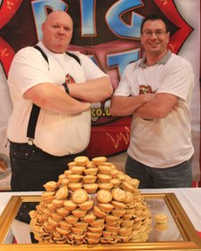 Mince pie eating contest winners Michael Doggrell and Lee Palmer