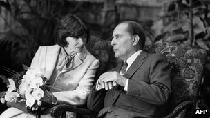 Danielle Mitterrand with her husband Frederic on a visit to Belgium, 13 October 1983