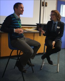A Hamble Community Sports College pupil practises their interviewing skills
