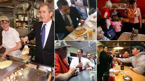 On the campaign trail in a diner (clockwise from left): George W Bush, Barack Obama, Sarah Palin, Mitt Romney, Al Gore