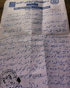 Taliban letter to Bibi Gul