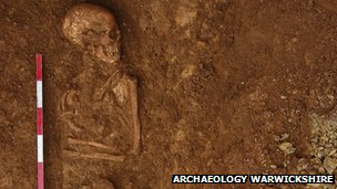A skeleton that was found in Ratley. Photo: Archaeology Warwickshire