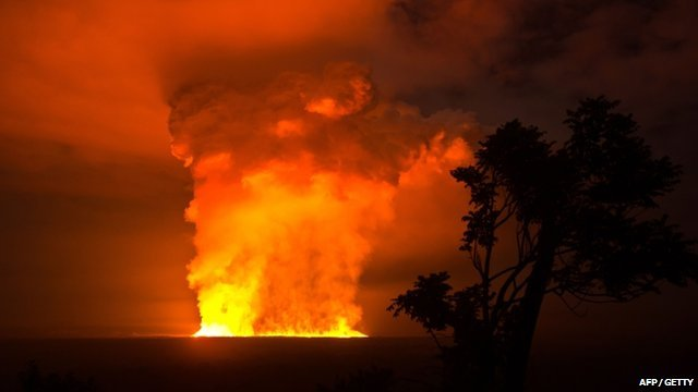 Nyamulagira Volcano erupting at night in Virunga National Park, DR Congo