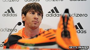 Lionel Messi at an Adidas event in Barcelona
