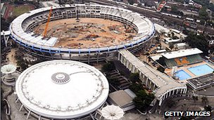 Work being done on the Maracana football stadium in Brazil ready for 2014 World Cup