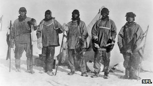 Terra Nova expedition at the South Pole in 1912