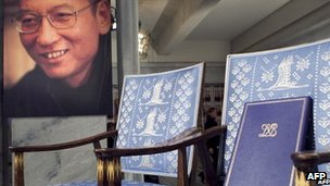 A picture of Liu Xiaobo next to his empty chair at the Nobel prize ceremony on 10 December 2010