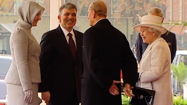 Turkish President Abdullah Gul and his wife Hayrunnisa meet The Queen and the Duke of Edinburgh