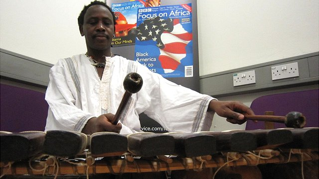 Mosi Conde playing for Focus on Africa, BBC World Service