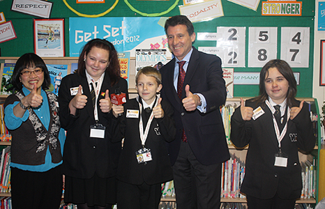 Whitley Academy pupils with Seb Coe