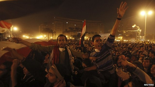 Protesters chant slogans against Field Marshal Tantawi