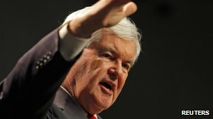 Newt Gingrich at St Anselm College in Manchester, New Hampshire 21 November 2011